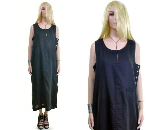 Lagenlook dress black loose LINEN dress lounge dre
