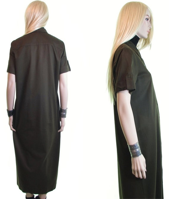 olive green cotton shirtdress tencel 90s duster dr