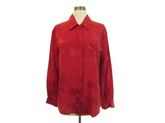 b5335dfac3f9ff silky red blouse loose fit blouse slouchy shirt vintage