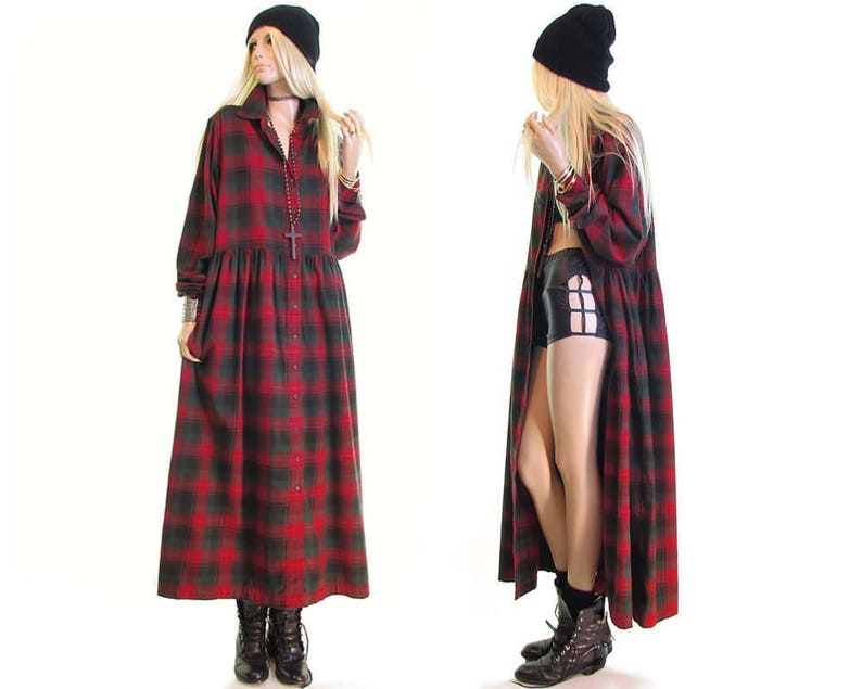 055bc41cb79 Grunge dress red plaid flannel dress scotch plaid maxi dress