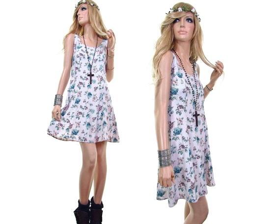 90s floral babydoll dress 90s grunge dress pastel