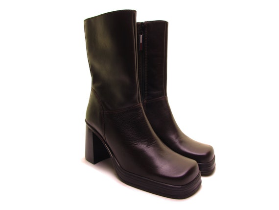 TOMMY HILFIGER square toe boots brown leather boot