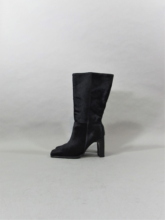PONY FUR leather 90s square toe boots calf hair bo