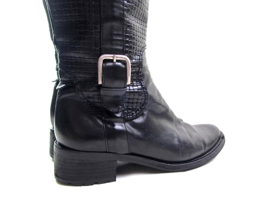 rubber hipster boots tall 2 boot 1 boho 5 boots 90s riding black leather boots vintage HAAN 5 buckle 5 high soles COLE low silver knee heel qxHTFY