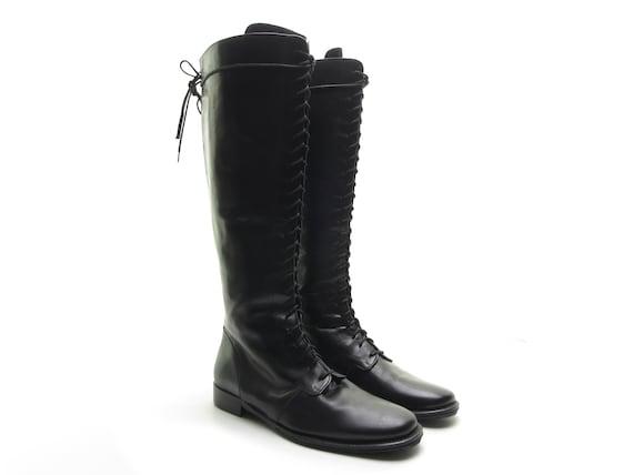JOAN & DAVID Handmade Italian black leather boots