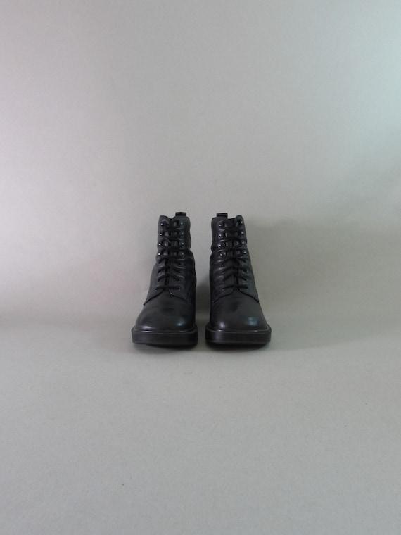 BUTTERY SOFT 90s leather boots platform boots blac