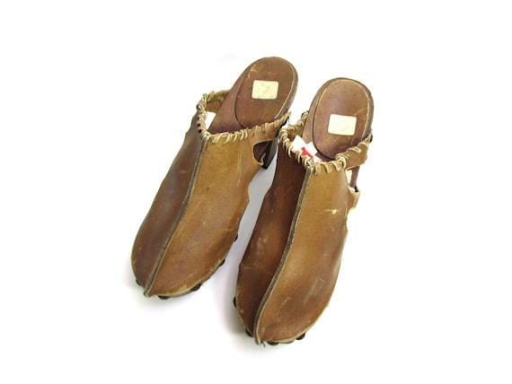 BUFFALO BISON leather clogs 70s clogs 60s clogs hi