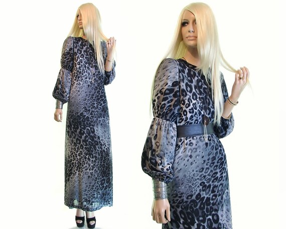 sheer leopard print maxi dress, puff sleeve dress,