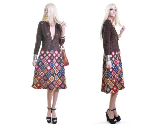 RARE MASKIT granny square dress vintage 70s croche