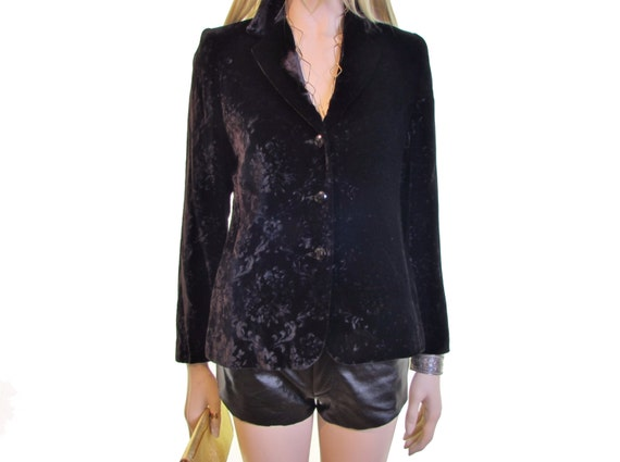black velvet jacket 90s Baroque crushed velvet bla