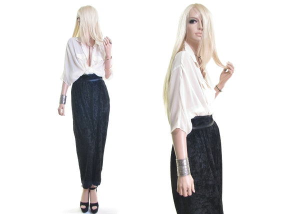 high waist crushed velvet pants black baggy pants