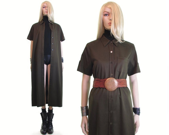 olive green cotton shirt dress tencel 90s duster d