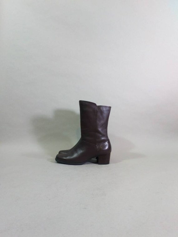 chelsea boots 90s soft leather boots brown square… - image 3