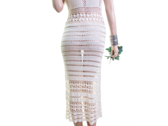 sheer crochet dress cream white crochet wedding d… - image 1