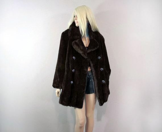 70s faux fur coat TISSAVEL COAT made in FRANCE 70s