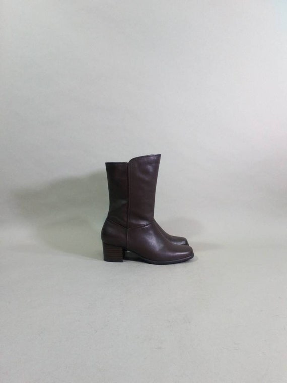 chelsea boots 90s soft leather boots brown square… - image 6