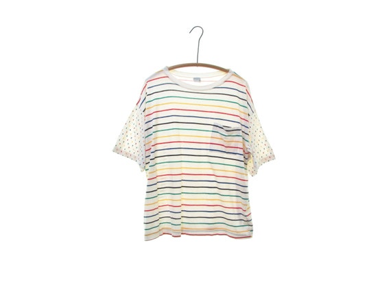 90s RAINBOW stripe shirt COTTON pocket tee oversi… - image 4