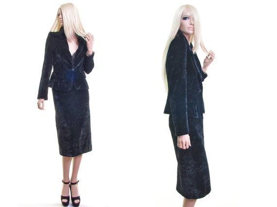 vintage 80s 90s power suit black crushed velvet su