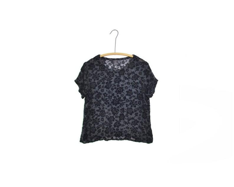 123c62a6 Burnout velvet shirt velvet rayon silk blouse black velvet | Etsy