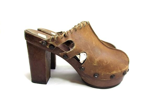 70s platform clog high heel clogs BUFFALO BISON le
