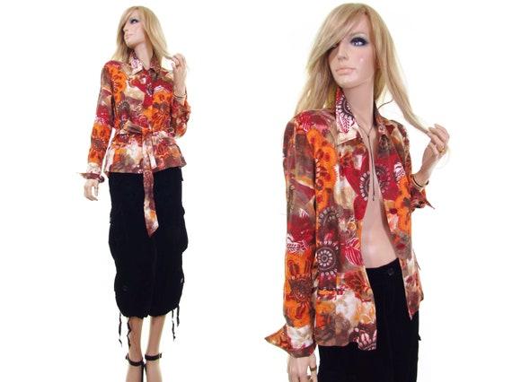 HUCKE wrap blouse linen shirt wrap shirt Batik shi