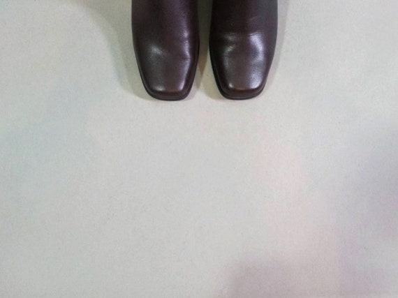 chelsea boots 90s soft leather boots brown square… - image 4