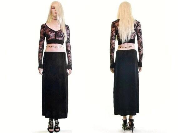 black velvet skirt 90s goth skirt velvet maxi skir