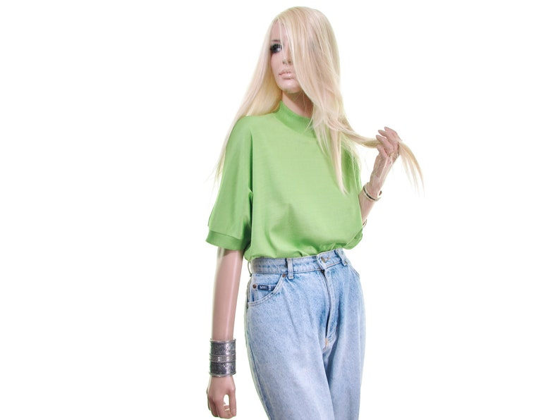 green sweater SILK sweater Apple Green sweater colorblock sweater short sleeve sweater mock turtleneck turtleneck sweater Made in ITALY