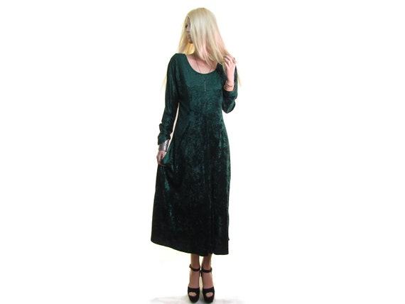 90s crushed velvet dress EMERALD GREEN velvet dres