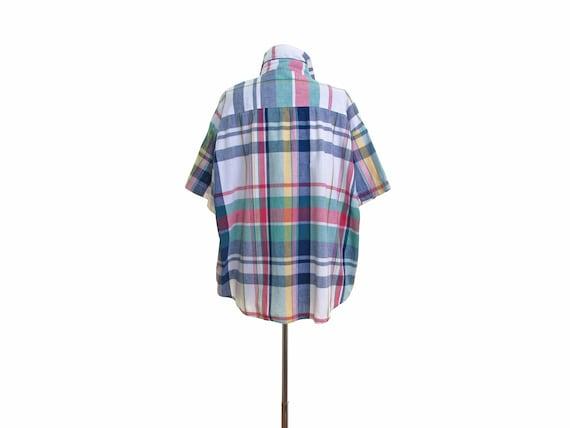 madras shirt madras plaid shirt 90s surfer shirt s