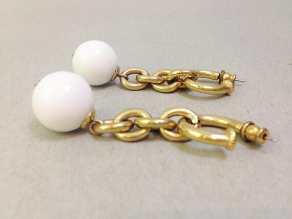 gold chunky chain link earrings, gold dangle drop