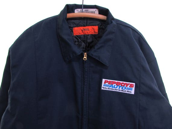 PEP BOYS quilted mechanic jacket chore coat blue q