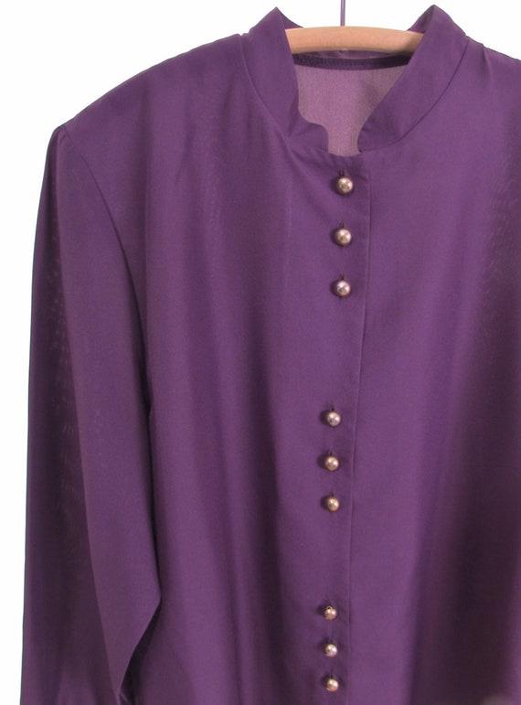70s purple poet sleeve blouse secretary blouse 70s