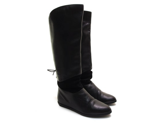 black leather slouchy boots black lace up boots ta