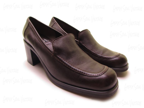 90s chunky leather loafers chunky heel shoes 90s m