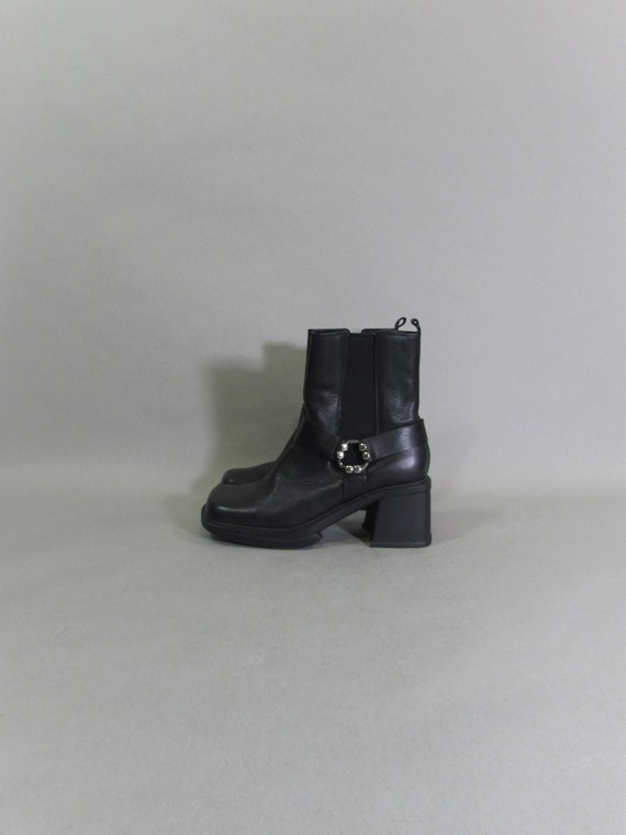 motorcycle boots platform boots ROCKER boots leath