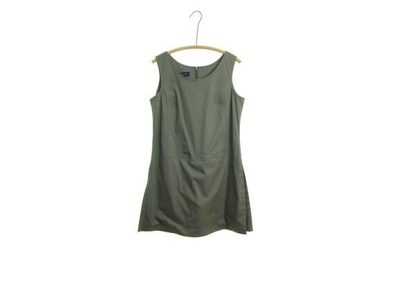 Olive Green SKORT dress vintage 90s cotton dress 9