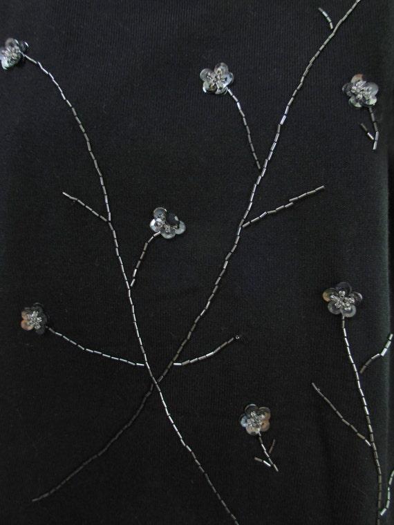 black beaded sweater, puff sleeve sweater, sequin… - image 2