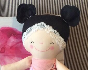 """Handmade Girl Dolly Nessie Cloth Doll 16"""" Plush Softie Rag Doll Pink Birds Black Wool Felt Hair"""