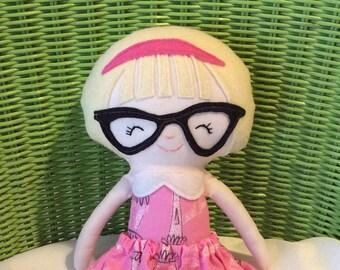 "Handmade Girl Doll Madelyn Cloth Doll 15"" Plush Softie Rag Doll Pink White Dress Blonde Wool Felt Hair"