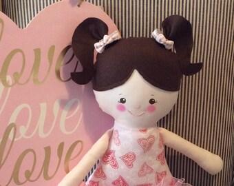 """Handmade Girl Dolly Darla Cloth Doll 17"""" Plush Softie Rag Doll Pink Heart Dress Dark Brown Wool Felt Hair"""