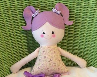 "Handmade Girl Dolly Sydney Cloth Doll 17"" Plush Softie Rag Doll Purple Flower Print Dress Lavender Hair"