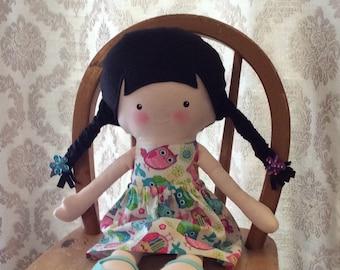 "Handmade Girl Cloth Doll 20"" Karissa Plush Softie Rag Doll With Removable Skirt  Black Wool Felt Hair"