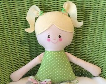 "Handmade Girl Brooke Cloth Doll 17"" Plush Softie Rag Doll Green And White Dot Dress Blonde Wool Felt Hair"
