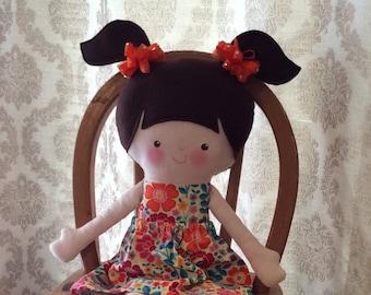"Handmade Girl Cloth Doll 20"" Natalie Plush Softie Rag Doll With Removable Skirt Brown Wool Felt Hair"