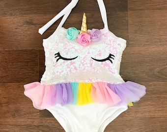 Girls  Baby unicorn bathing suit with tutu