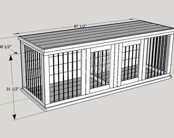 Plans to Build Your Own Wooden Double Dog Kennel - Size Large