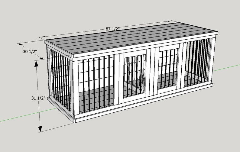 Plans To Build Your Own Wooden Double Dog Kennel Size Large Etsy