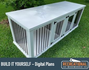 DIY Plans - Medium Wooden Double Dog Kennel - Digital Plans Only