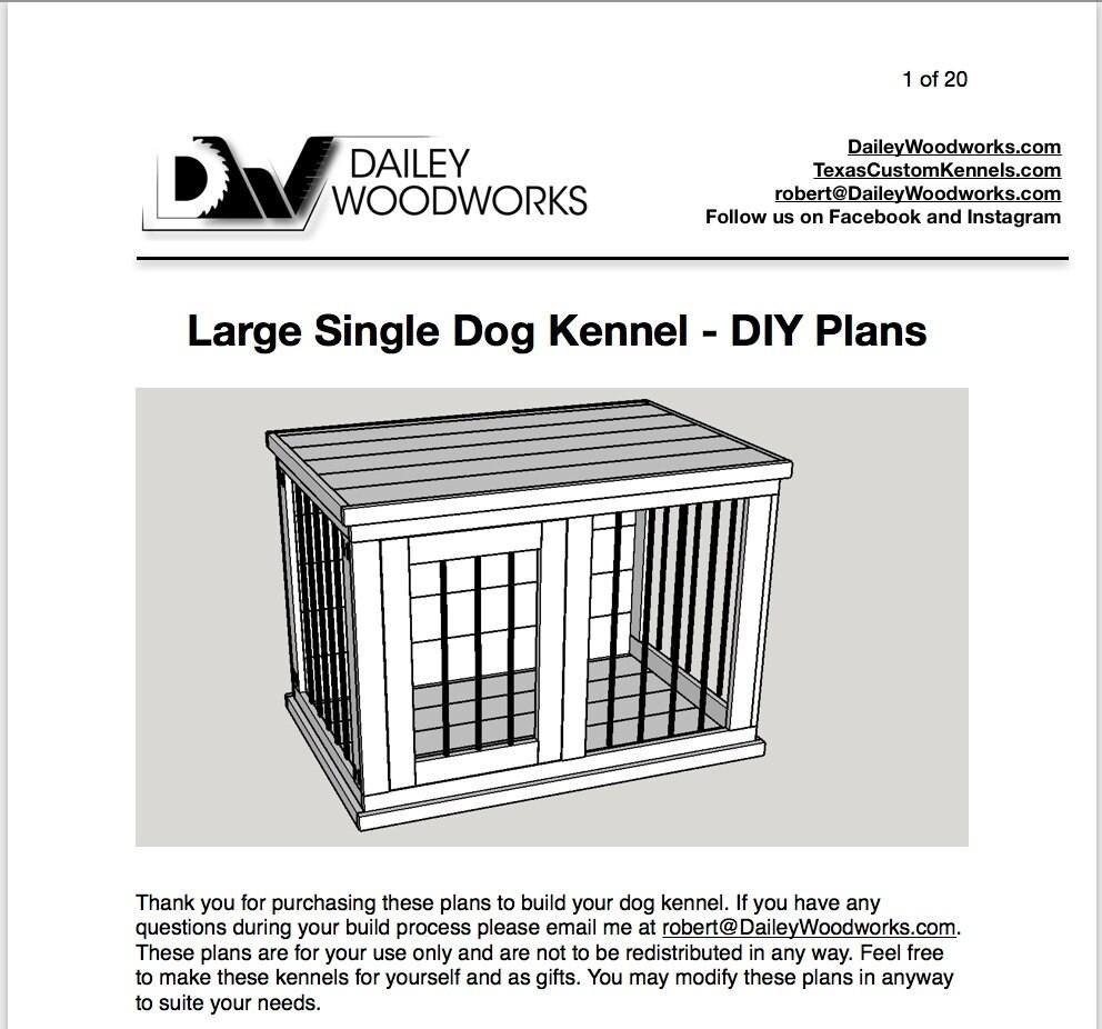 Large Single Dog Kennel - DIY Plans - Digital Download for sale
